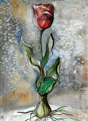 Red Tulip Print by Mindy Newman