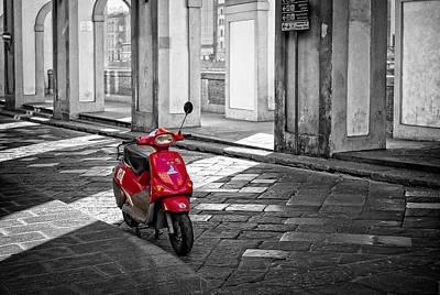 Red Vespa Print by Michael Avory
