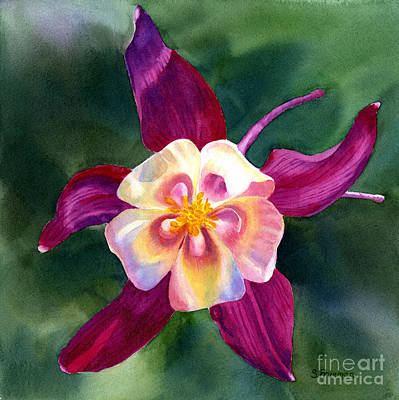 Blue And Red Painting - Red Violet Columbine Blossom Square Design by Sharon Freeman