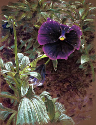 Pastel Painting - Red Violet Dew by Christopher Reid
