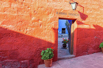Red Wall In Santa Catalina Monastery Print by Jess Kraft