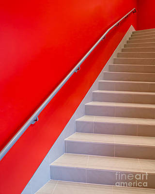Staircase Photograph - Red Walls Staircase by Edward Fielding