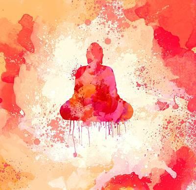 Zen Digital Art - Red Watercolor Buddha Paining by Thubakabra