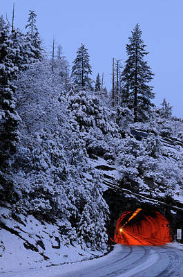 Yosemite Photograph - Red Wawona Road Tunnel And Blue Snow Covered Mountain At Dawn In by Reimar Gaertner