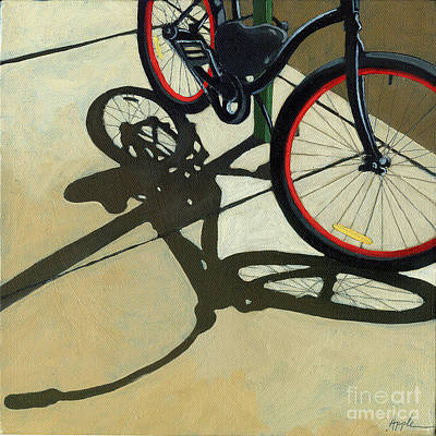 Bike Riding Painting - Red Wheels - Bicycle Art Oil Painting by Linda Apple