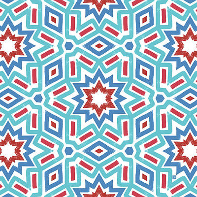 Red White And Blue Fireworks Pattern- Art By Linda Woods Print by Linda Woods
