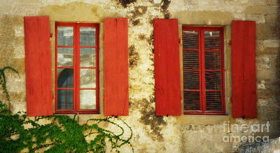 Red Windows Of Vezelay Print by Lainie Wrightson