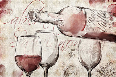 Wine Glasses Painting - Red Wine Burlap by Mauro DeVereaux