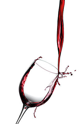 Pouring Wine Photograph - Red Wine Pouring Into Wine Glass by Joseph LaPlaca