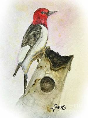 Woodpecker Painting - Redhead Woodpecker by Ted Reeves