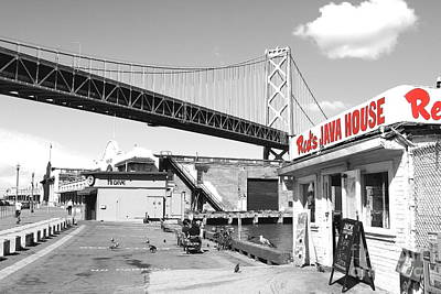 Reds Java House And The Bay Bridge In San Francisco Embarcadero . Black And White And Red Print by Wingsdomain Art and Photography