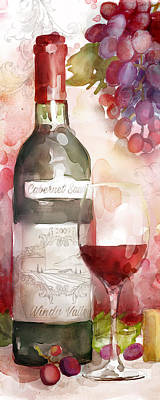 Wine Bottle Painting - Redwinewatercolor by Mauro DeVereaux