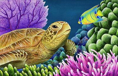 Ocean Turtle Painting - Reef Buddies by Carolyn Steele