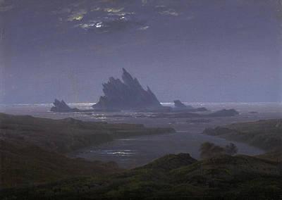 Moonlight Painting - Reefs By The Seashore by Caspar David Friedrich