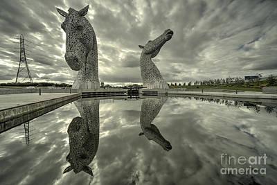 Reflected Kelpies  Print by Rob Hawkins