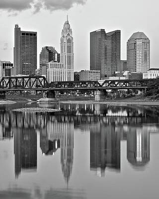 Photograph - Reflecting Columbus In Black And White by Frozen in Time Fine Art Photography
