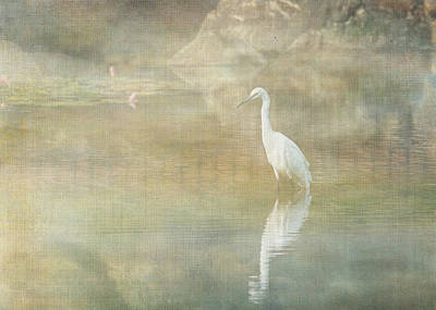Digital Art - Reflecting Egret by Sarah Vernon