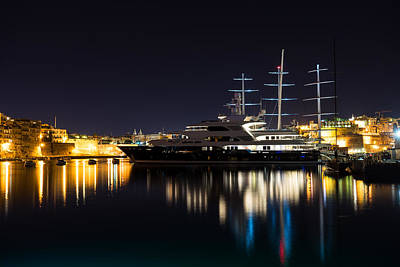 Reflecting On Malta - Luxury Superyachts In Valletta Print by Georgia Mizuleva
