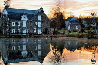 Reflection At Wagner Mill Print by DJ Florek