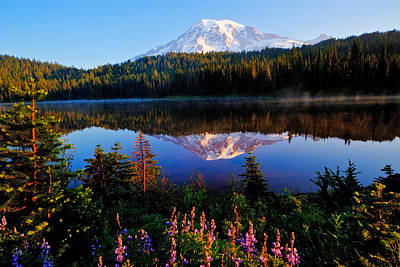 Reflection Lake Mt Rainier Print by Alvin Kroon