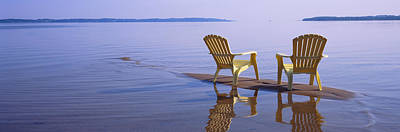 Empty Chairs Photograph - Reflection Of Two Adirondack Chairs by Panoramic Images