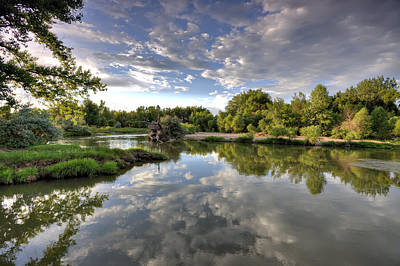 Reflection On The Poudre River Print by Shane Linke