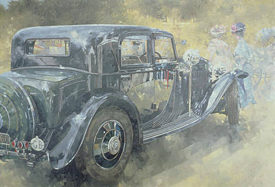 British Classic Cars Painting - Reflections At Althorp by Peter Miller