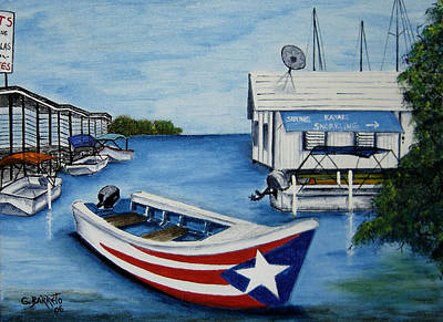 Motor Boats Painting - Reflections by Gloria E Barreto-Rodriguez