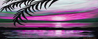 Reflections In Magenta - Panoramic Sunset Print by Gina De Gorna