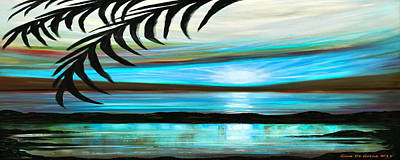 Reflections In Teal - Panoramic Sunset Print by Gina De Gorna