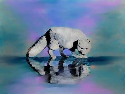 Arctic Dog Painting - Reflections by Liz Borkhuis