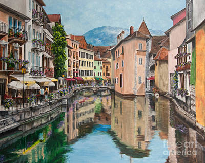 Town Painting - Reflections Of Annecy by Charlotte Blanchard