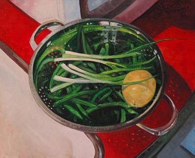 Green Beans Painting - Reflections Of Supper by T S Carson