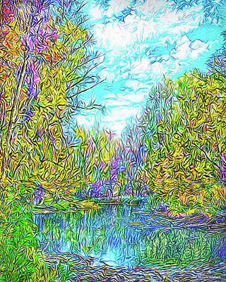 Trippy Digital Art - Reflections On Autumn Pond - Park In Boulder County Colorado by Joel Bruce Wallach