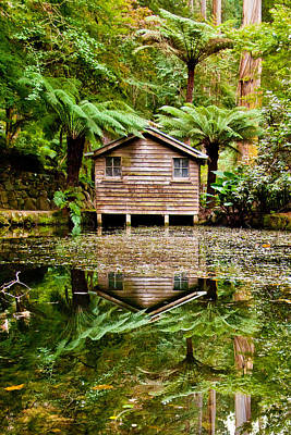Shed Photograph - Reflections On The Pond by Az Jackson