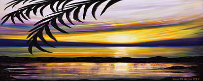 Reflections - Panoramic Sunset Print by Gina De Gorna