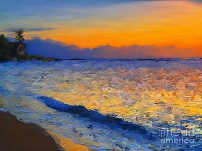 Waves Digital Art - Reflective Sunset by Anthony Fishburne