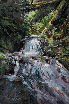 Refreshed - Rainforest Waterfall Impressionistic Painting Print by Karen Whitworth