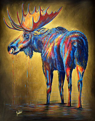 Lime Painting - Regal Moose by Teshia Art