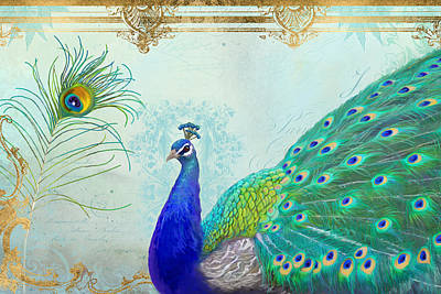 Regal Peacock 2 W Feather N Gold Leaf French Style Print by Audrey Jeanne Roberts
