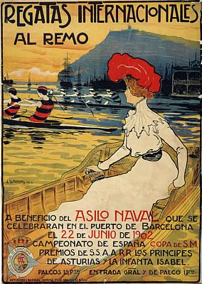 Poster Painting - Regatas Internacionales Al Remo by Llaverias Labro