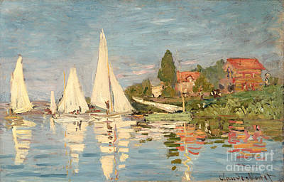Boats Painting - Regatta At Argenteuil by Claude Monet