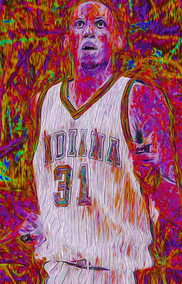 Patrick Ewing Photograph - Reggie Miller Nba Basketball Indiana Pacers Painted Digitally by David Haskett