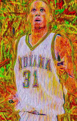 Patrick Ewing Photograph - Reggie Miller Nba Indiana Pacers Basketball Digitally Painted by David Haskett