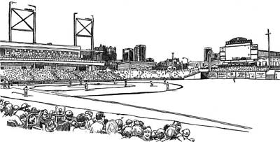 Baseball Parks Drawing - Regions Field - Black And White by Greg Smith