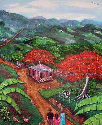 Flamboyan Tree Painting - Regreso Al Campo by Luis F Rodriguez
