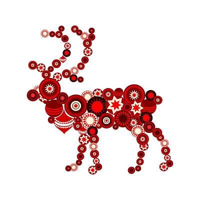 Room Digital Art - Reindeer - Christmas Ornaments - Holiday Season by Anastasiya Malakhova