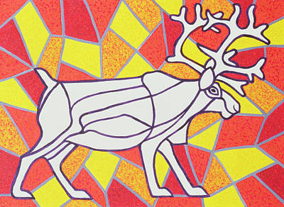 Reindeer On Stained Glass  Print by Pat Scott