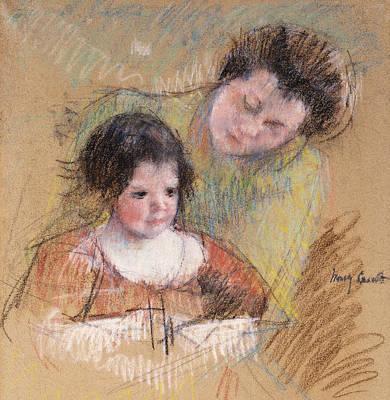 Reine Leaning Over Margot's Shoulder Print by Mary Stevenson Cassatt