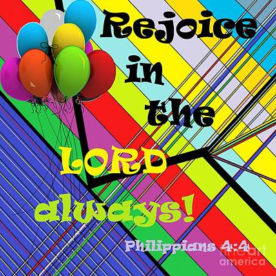 Bible Painting - Rejoice In The Lord Always by Eloise Schneider